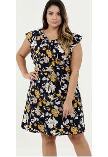 Vestido Feminino Crepe Estampa Floral Plus Size Marisa