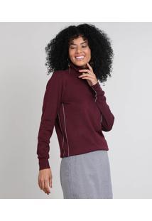 Blusa Feminina Em Tricô Gola Alta Vinho