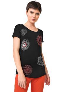 Camiseta Desigual Sonja Preta - Preto - Feminino - Viscose - Dafiti