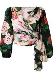 5abff42595 ... Dolce   Gabbana Rose Print Wrap Blouse - Preto