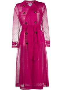 Redvalentino Trench Coat Translúcido - Rosa