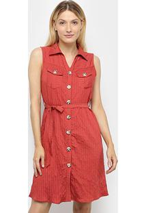 Vestido Sofia Fashion Chemise Curto Com Bolso Listrado - Feminino-Vermelho