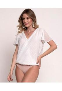Body Bisô Decote Feminino - Feminino-Off White