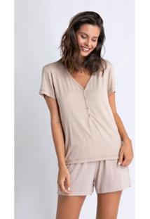 Pijama Acuo Curto De Visose De Malha Listras Feminino - Feminino-Bege