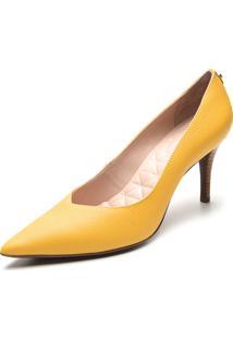 Scarpin Couro Jorge Bischoff Liso Amarelo