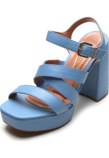 Sandália Vizzano Salto Grosso Azul-Marinho