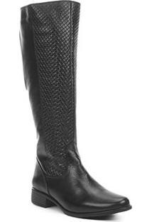 Bota Montaria Shoestock Couro Tressê Feminina - Feminino-Preto