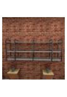 Estante Estilo Industrial Sala Aço Preto 180X30X68Cm (C)X(L)X(A) Mdf Cinza Modelo Ind34Csl