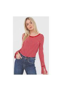 Blusa Calvin Klein Listrada Vermelha
