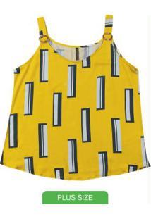 Blusa Estampada Sem Manga Amarelo