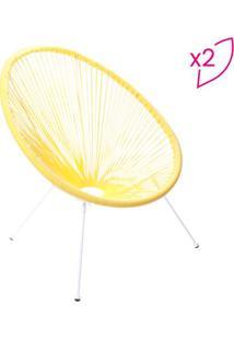 Jogo De Cadeiras Acapulco- Amarelo & Branco- 2Pã§S