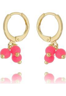 Brinco Argolinha Drusi Pequena Dourada Com Missangas Pink