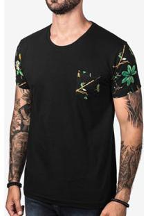 Camiseta Hermoso Compadre Manga Leafs Masculina - Masculino-Preto