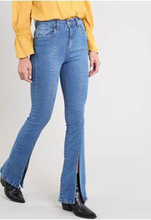 bb22b3c95 ... Calça Jeans Feminina Flare Com Fenda Azul Médio