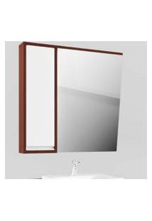 Espelheira Banheiro Espelho Inclinado Cinamomo Com Branco Lilies Móveis