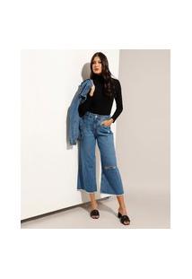 Calça Wide Cropped Jeans Com Rasgos Cintura Super Alta Azul Médio