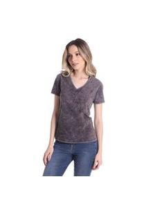 T-Shirts Daniela Cristina Gola V Lavada 10272 3 Preto - Preto - Pp