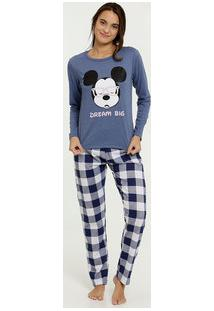 Pijama Feminino Xadrez Estampa Mickey Disney