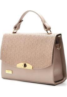 Bolsa Hendy Bag Couro Rosê Estruturada - Feminino-Rosa