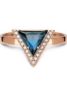 Anel Ouro Rosé E Topázio London E Diamantes