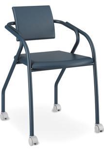 Cadeira Para Escritório 1713, Corino Azul Noturno