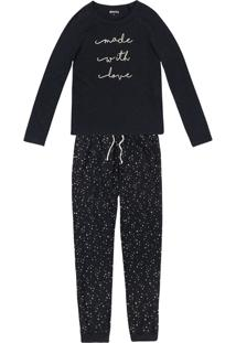 3ed02711396cd8 Hering Pijama Hering Feminino Estampado Balada Conforto Ilhós Algodão  Poliester Longo