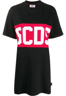 Gcds Vestido Reto Com Estampa De Logo - Preto