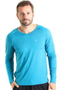 Camiseta Liquido Manga Longa Gola V Azul