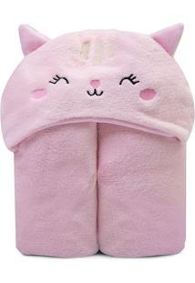 Cobertor Bichus Com Capuz Gatinha- Rosa- 85X110Cm