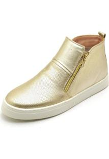 Bota Top Franca Shoes Hiate Word Feminino - Feminino-Dourado