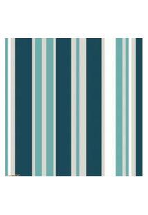 Papel Parede Listras Azul Com Verde 1,50X 60