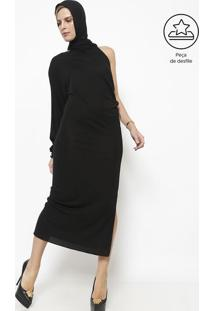 Vestido Ombro Único Com Capuz - Preto - Versaceversace