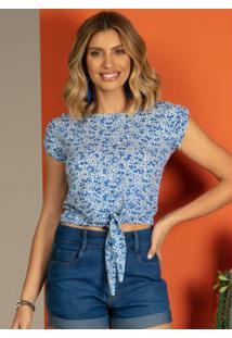 Blusa Lya Com Botões Floral Azul