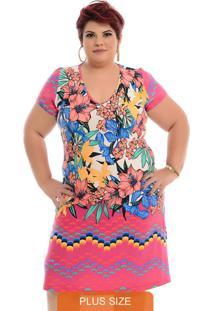 Vestido Básico De Malha Floral Plus Size