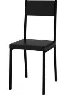 Cadeiras Easy Vinil Preto/Preto - Pozza