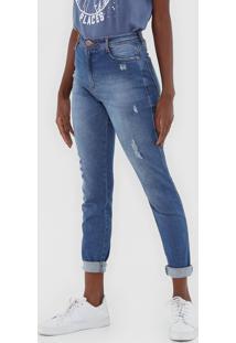 Calã§A Jeans Dzarm Skinny Desgastes Azul - Azul - Feminino - Algodã£O - Dafiti