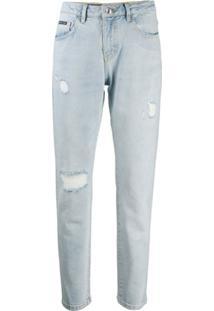Philipp Plein Calça Jeans Reta Destroyed - Azul