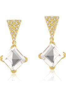 Brinco Toque De Joia Quartzo Cristal Quadrado Geométrico Zircônias Dourado - Tricae