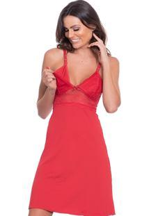 Camisola Click Chique Alça Amamentação Vermelho - Kanui