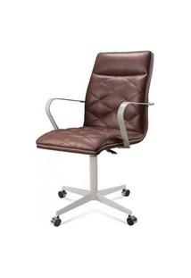Cadeira Office Billy Courino Marrom Base Cromada 97Cm - 61296 Marrom