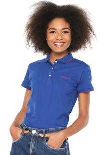 d4956f8abbeb2 Camisa Polo Calvin Klein Jeans Logo Azul