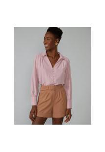 Amaro Feminino Camisa Com Botões Forrados, Rosa Queimado