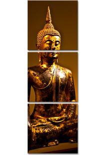 Quadro 150X50Cm Buda Dourado Decorativo Interiores Budismo
