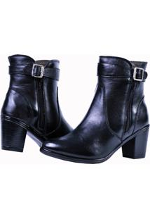 Bota Feminina Art Shoes Cano Curto Ankle Boot 243L Preto