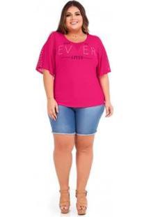 Blusa Rovitex Plus Size - Feminino-Rosa