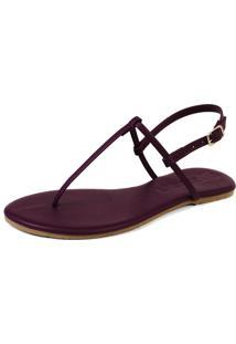 Rasteira Mercedita Shoes Napa Vinho Fosco