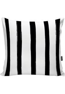 Capa De Almofada Stripes- Branca & Preta- 45X45Cm