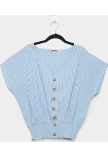 Blusa Allexia Pluz Size Listrada Botões Feminina - Feminino-Azul