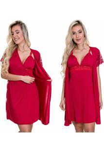 Camisola Amamentaã§Ã£O Estilo Sedutor Com Robe Em Microfibra E Renda Vermelha - Es206-207 - Vermelho - Feminino - Dafiti