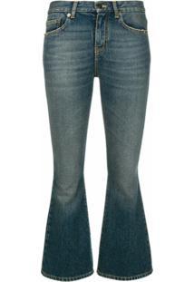 Saint Laurent Calça Jeans Bootcut Cropped - Azul
